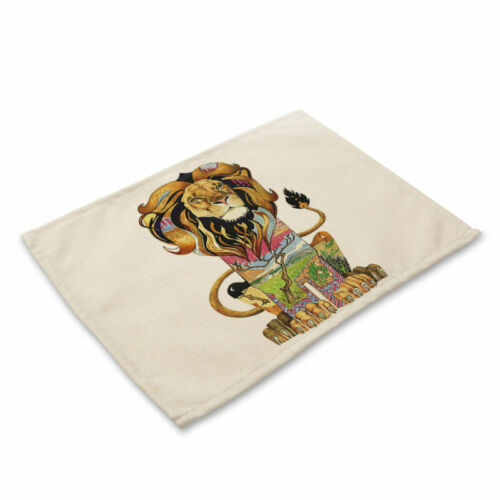 Animals Pattern Insulation Bowl Placemat Coasters Table Pad Cotton Linen