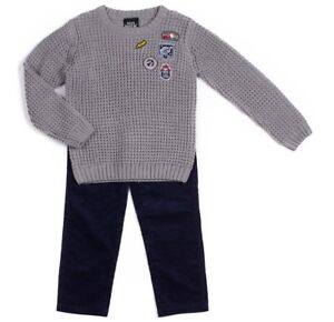 84acb8eb18 BOYS ROCK sweater pants outfit 4 4T 6 NWT gray knit navy corduroy ...