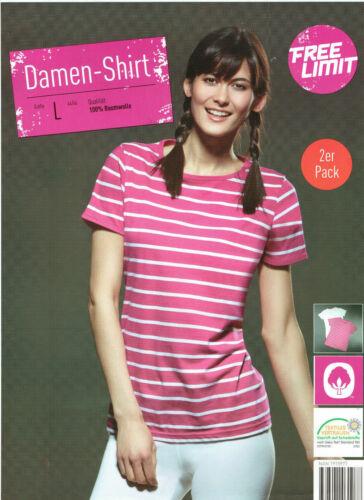 2er Pack Damen Shirt T-Shirt 100% Baumwolle Pink und Weiß Kurzarm