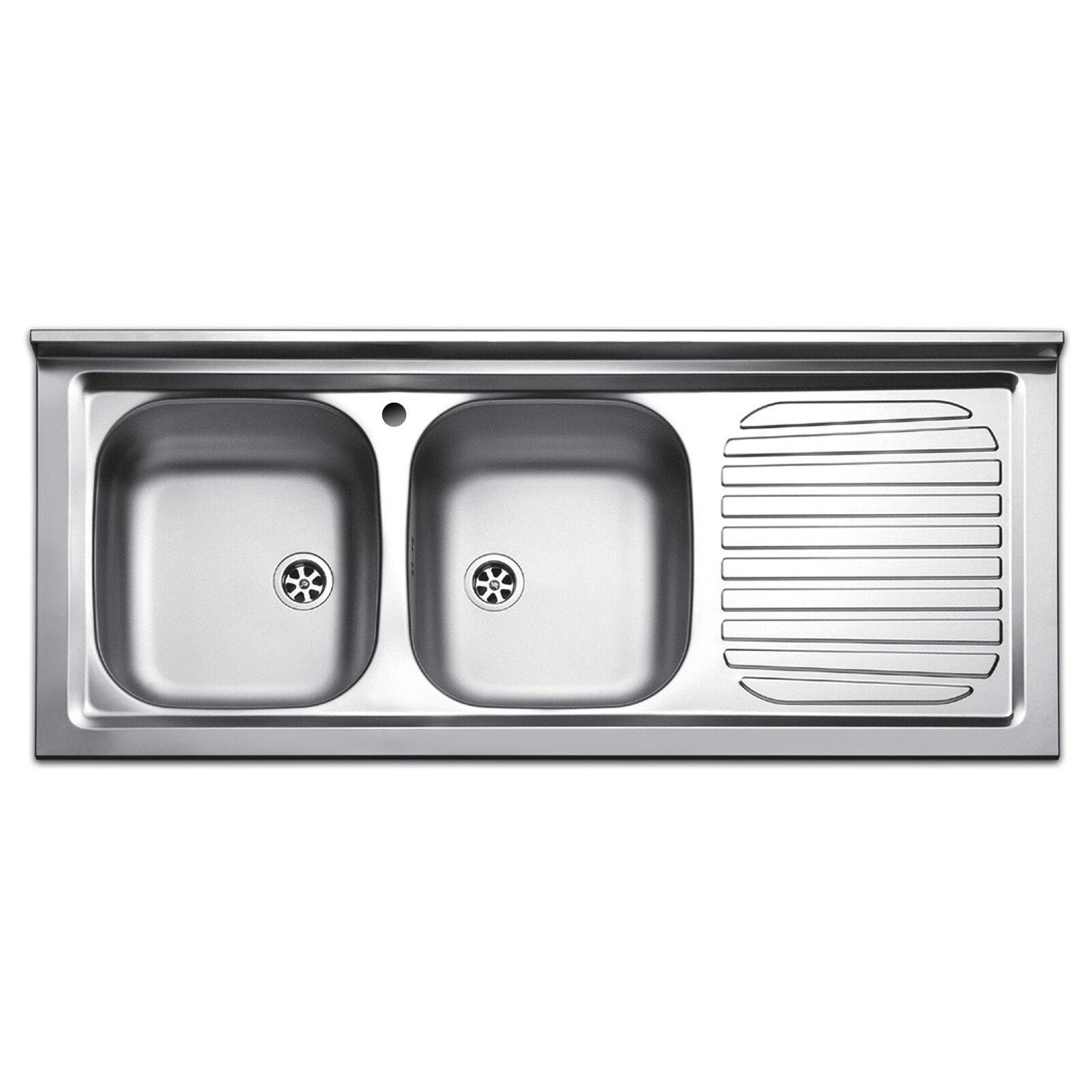Lavello cucina appoggio acciaio inox lavandino 120 cm 2 vasche e gocciolatoio dx