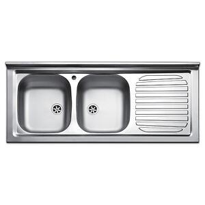 Lavello cucina appoggio acciaio inox lavandino 120 cm 2 vasche e ...