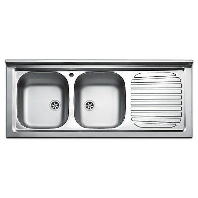 Lavello cucina appoggio acciaio inox lavandino 120 cm 2 vasche e  gocciolatoio dx | eBay