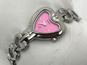 Fossil-Ladies-Watch-Silver-Tone-Pink-Face-Heart-Shape-Analog-Wrist-Watch-WR30M