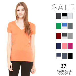 Bella-Canvas-Women-039-s-Jersey-Short-Sleeve-Deep-V-Neck-T-Shirt-B6035-S-2XL