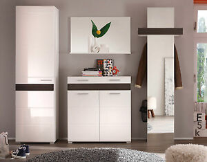 garderoben set wei hochglanz eiche flurgarderobe dielenschrank flur m bel mezzo ebay. Black Bedroom Furniture Sets. Home Design Ideas
