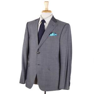 NWT-1595-Z-ZEGNA-Light-Gray-Woven-Wool-Silk-Suit-40-S-039-Drop-7-039-Model