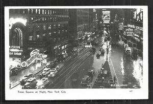 New-York-rppc-Times-Square-at-Night-Cars-Coca-Cola-NY-50s