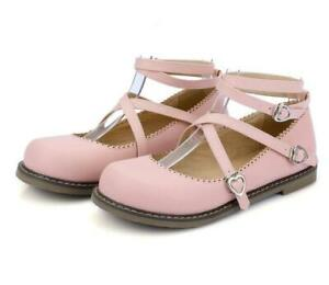 New-Ladies-Lolita-Fashion-Flats-Round-Toe-Cross-Strappy-Buckle-Metal-Decor-Pumps