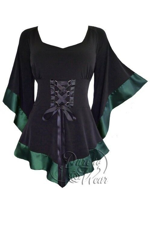 Dare to Wear Victorian Gothic Boho Pirate Treasure Corset Top in EverGrün