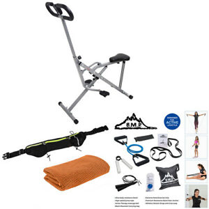 077 Upright Squat Assist Row-N-Ride Trainer for Squat Exercise and Glutes Workout Bundle with Deco Gear Home Gym 7-Piece Fitness Kit Sunny Health and Fitness NO