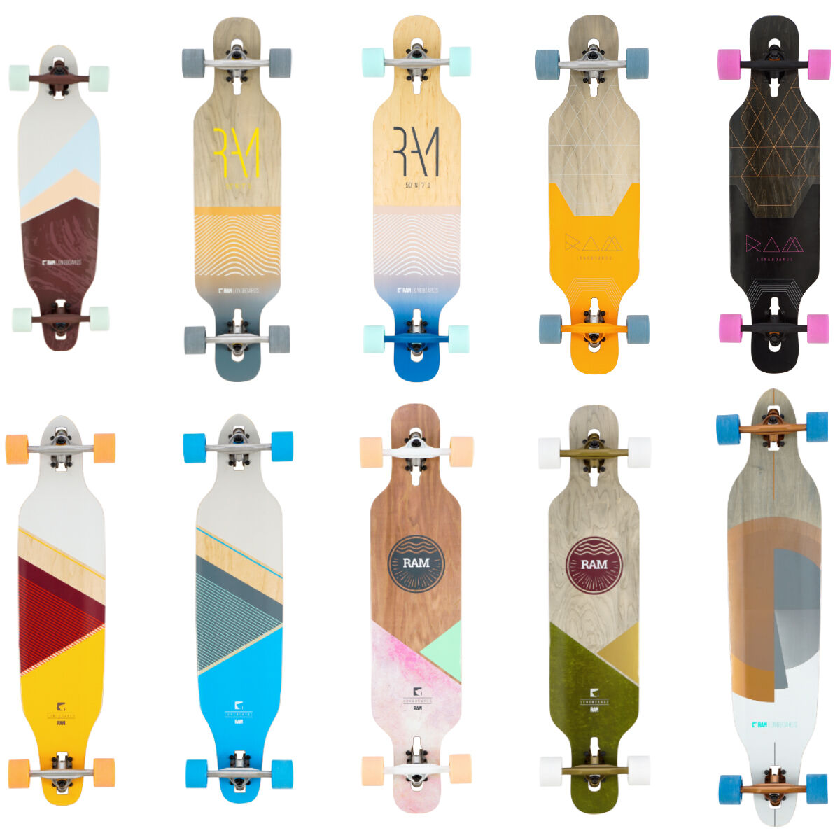 RAM Longboard cruiser komplett board freeride downhill streetsurfer skateboard