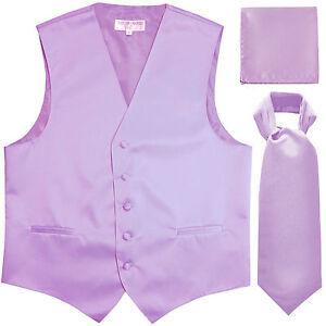 New Men/'s lavender formal vest Tuxedo Waistcoat/_necktie /& hankie set prom