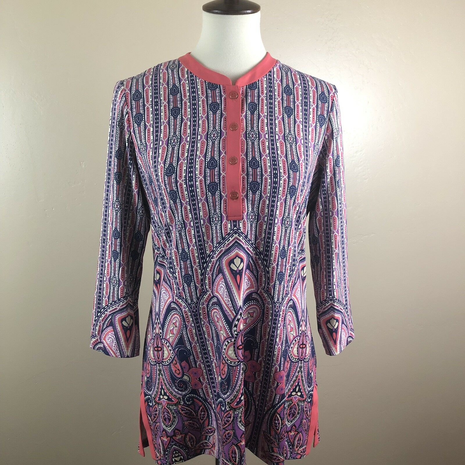 J. McLaughlin Catalina Cloth M Biscayne Banded Collar Tunic Nylon Stretch Button