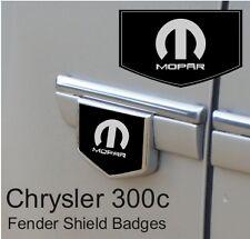 Chrysler 300c Mopar Logo Fender Side Shield Badge Emblems (Black/Chrome)