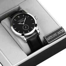 DESIGNER ANTHONY JAMES MENS WRIST WATCH ANALOG LEATHER BLACK QUARTZ SRP £425!!