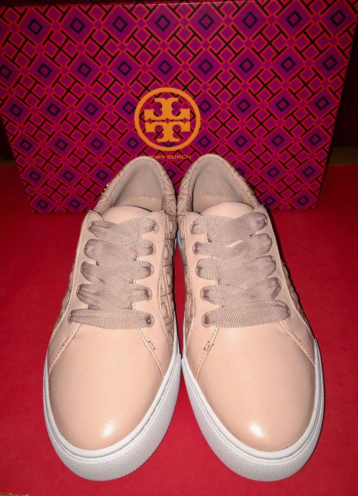 Nuevo Nuevo Nuevo En Caja TORY BURCH Marion Acolchado Con Cordones Tenis Zapatos Talla 7.5 sobre rosado  alta calidad