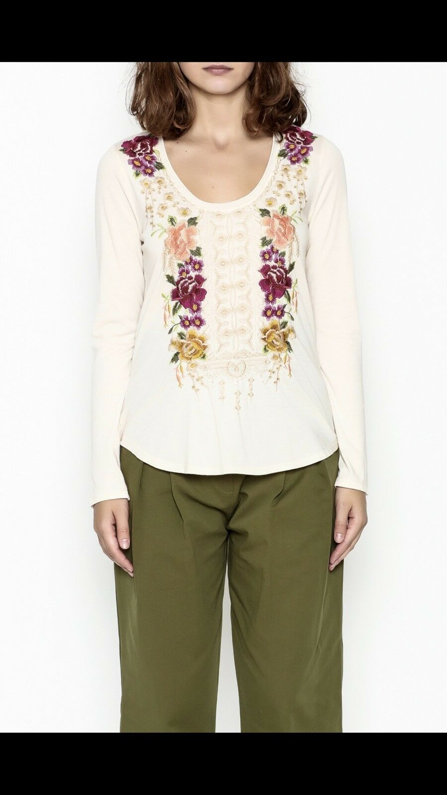 NWT Johnny Was Flores Scoop Neck Embroiderot Lange Sleeve Tee Hemd SZ XL