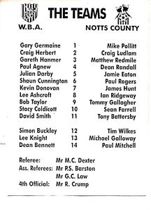 Teamsheet-West-Bromwich-Albion-Reserves-v-Notts-County-Reserves-Undated