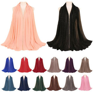Muslim-Women-Plain-Rhinestone-Chiffon-Hijab-Islamic-Turban-Scarf-Shawl-Wrap-New