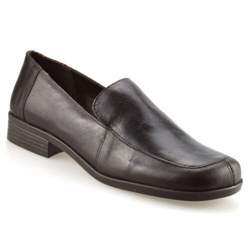 Work Flat Brown Womens Ladies Shoes Office Size Leather On Pumps Loafers  Smart Slip 87xSxT 74dfb2a3a01