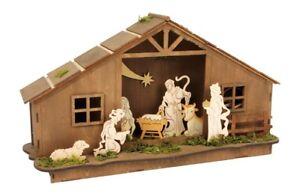 Casa presepe di natale in legno con illuminazione idea regalo per