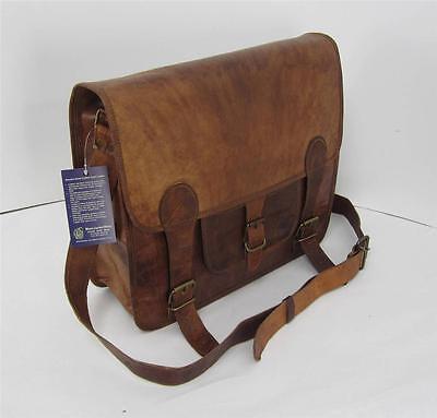 """14x12x5"""" New Vtg Genuine Leather Satchel Briefcase Laptop Shoulder Messenger Bag"""