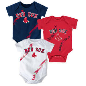 Boston Red Sox Baby Infant 3-Piece Bodysuit Creeper Newborn Set FREE ... 299f343d7