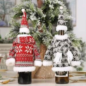 Christmas Knitted Scarf Hat Skirt Bottle Cover Party Table Decor Wine Bottle Bag