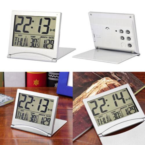 Silber LCD Digitaluhr Wecker Digitalwecker Reisewecker mit Thermometer Tisc W3B7