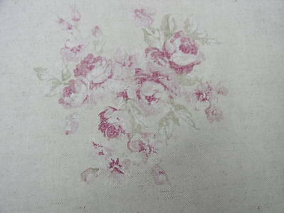 Yuwa Gorgeous Faded Raspberry Cabbage Roses on Oatmeal  Soft Linen Blend
