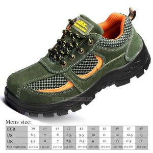 Men/'s Construction Breathable Working Safety Shoes Steel Toe Sole Work Boots