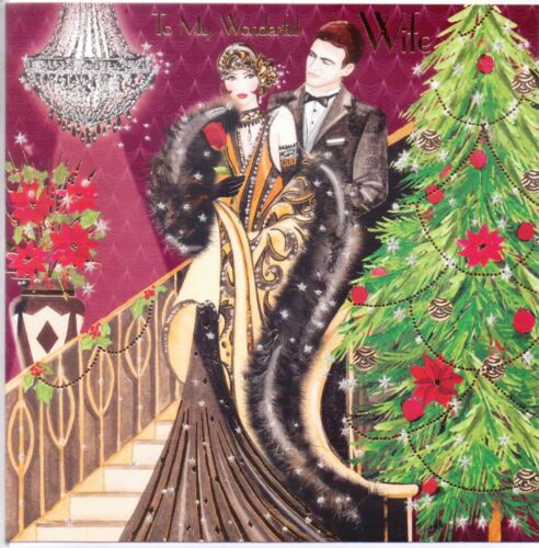WRAPPED B811 WIFE CHRISTMAS CARDS just 30p QUALITY BOARD, by TRACKS X 12