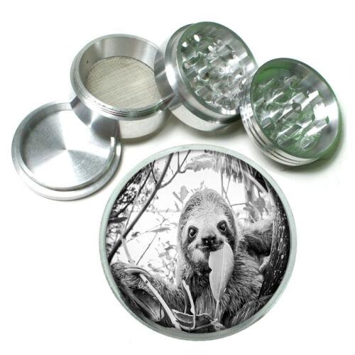 "Cute Sloth Images D9 Aluminum Herb Grinder 2.5/"" 63mm 4 Piece"