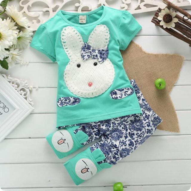 2PC Baby Kids Shirt Tops+Short Pants Set Flower Clothes Cute White Rabbit 1-4Y