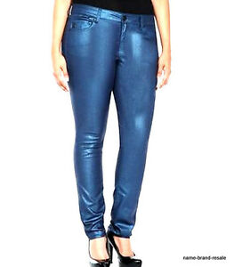 dab8ac2545e21 Details about TORRID Galaxy BLUE Metallic Jeggings Jeans 26 4X Skinny Leg  Stretchy Shiny BLING
