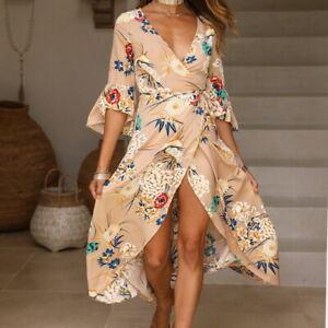 Woman-Summer-Floral-Trumpe-Sleeve-Deep-V-Neck-Boho-Evening-Party-Long-Maxi-Dress