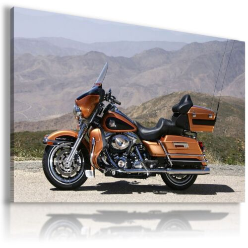 HARLEY DAVIDSON MOTOR BIKE BROWN GOLDEN Large Wall Canvas  ART  HD10 MATAGA