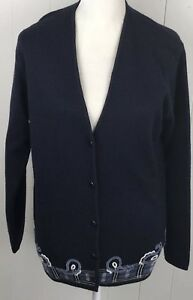 Pendleton-Womens-Vintage-Wool-Cardigan-Sweater-Size-Small-Navy-Blue