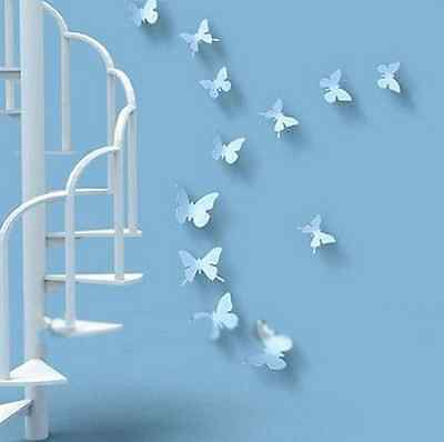 3D DIY Wall Sticker Stickers Butterfly Home Decor Room Decorations white 12p/set