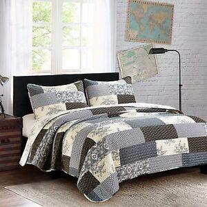 CONCORD-3pc-King-Quilt-Set-Patchwork-Block-Primitive-Cottage-Floral-Medallion