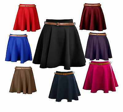 Ladies Women/'s Tartan Belted Short Mini Party Skater Skirt Plus Size 8-22