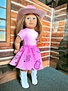 Pink-Cowgirl-Outfit-fits-American-Girl-18-034-Doll-Clothes-Hat-Boots-Skirt-Tshirt