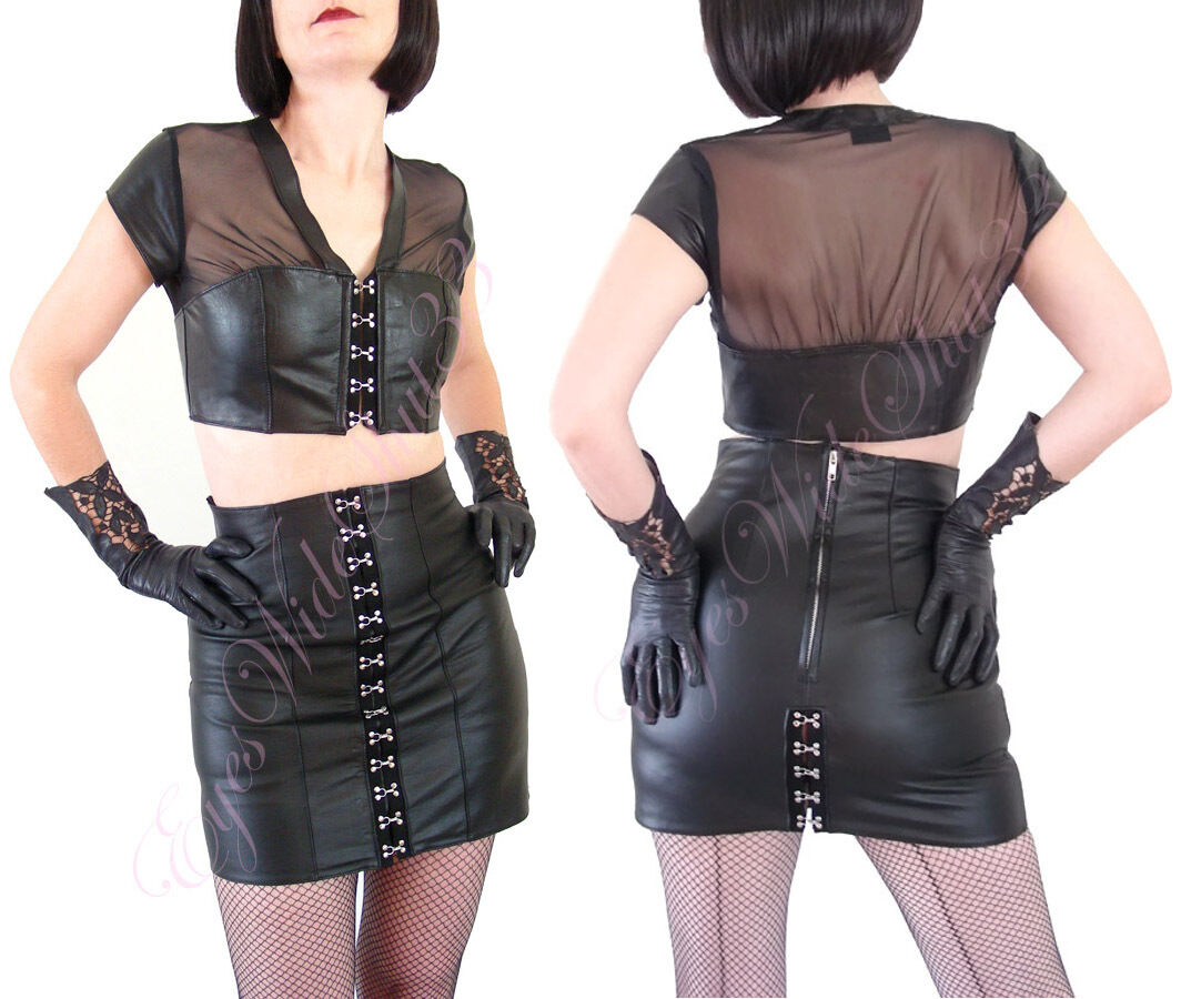 Sexy Set Allure Leather Mini skirt + Sexy Leather Mesh Top Hook & Eye S Small