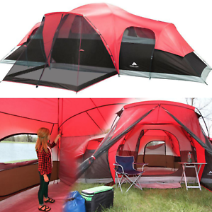 Large-Outdoor-Camping-Tent-10-Person-3-Room-Cabin-Screen-Porch-Waterproof-Red