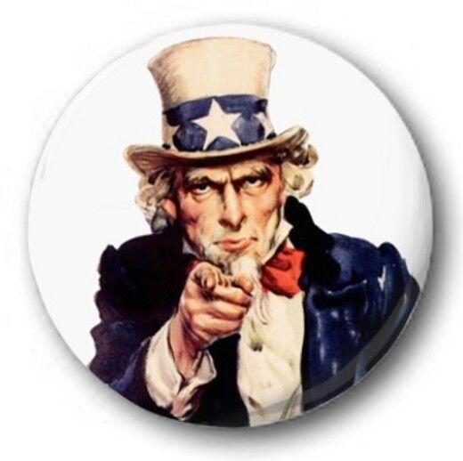 "Uncle Sam - 25mm 1"" Button Badge - I Want You, World War USA"