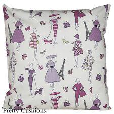 Retro Springtime in Paris Lilac Cushion Cover 16''