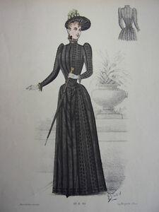 12/ Gravure De Mode 1890 Grand Format 36x26