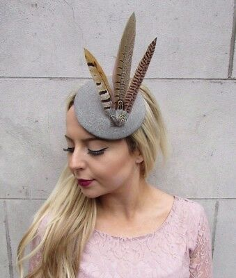 Soft Grey Tweed Pheasant Feather Pillbox Hat Races Fascinator ... 581b2163216