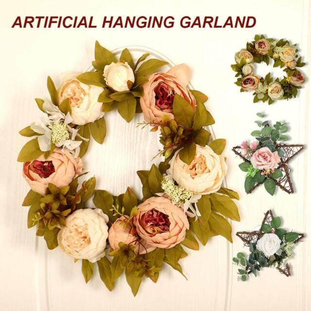 35CM ARTIFICIAL ROSE FLOWER WREATH DOOR HANGING PEONY GARLAND WEDDING HOME DECOR