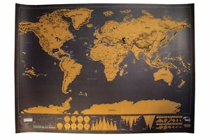 Large Deluxe Scratch Off World Map Travel Poster 24in x 32in